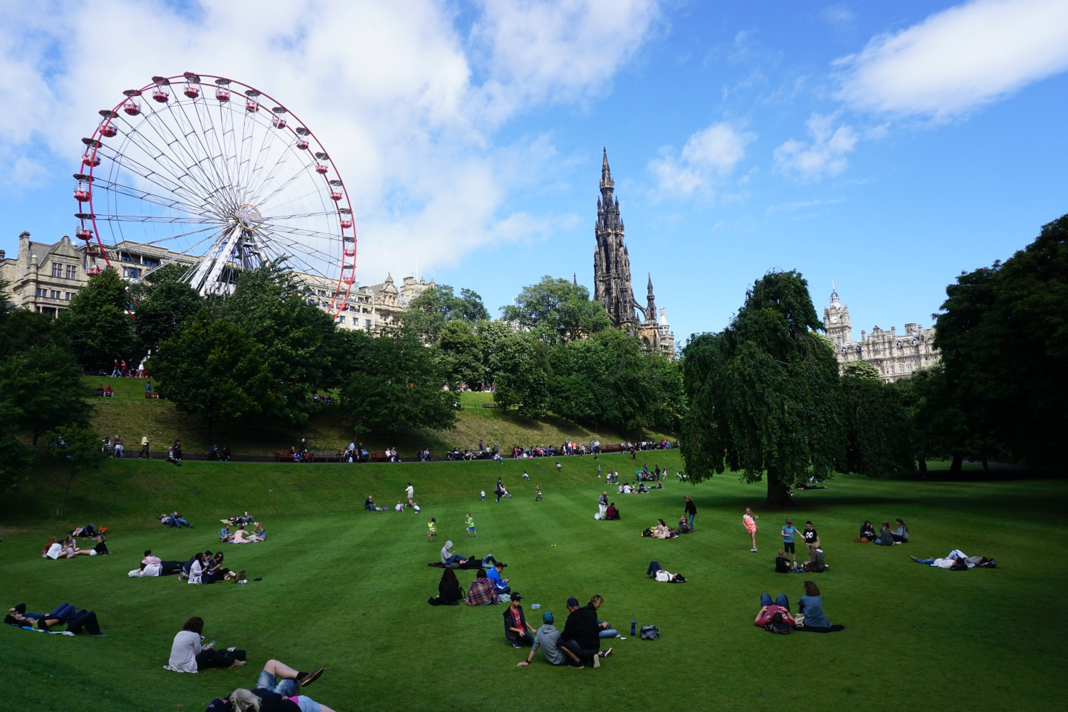 View of Princes Street Gardens in Edinburgh on a sunny day