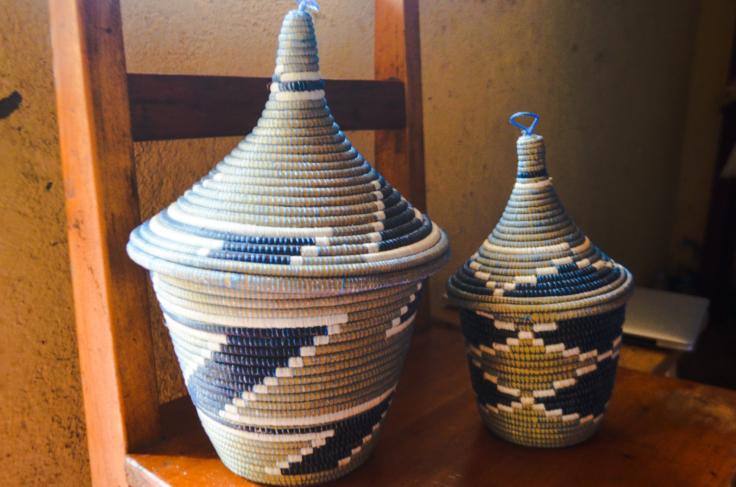 Traditional Rwanda peace basket - woven in various colors with a pyramid top