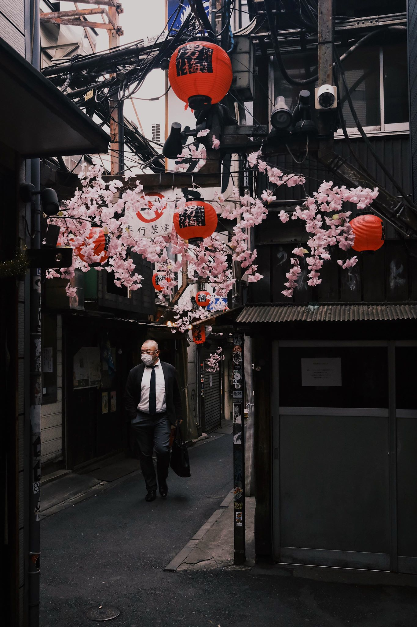 Shinjuku district in Tokyo - lanterns and blossoms hanging overhead as a man in a suit walks down a narrow street
