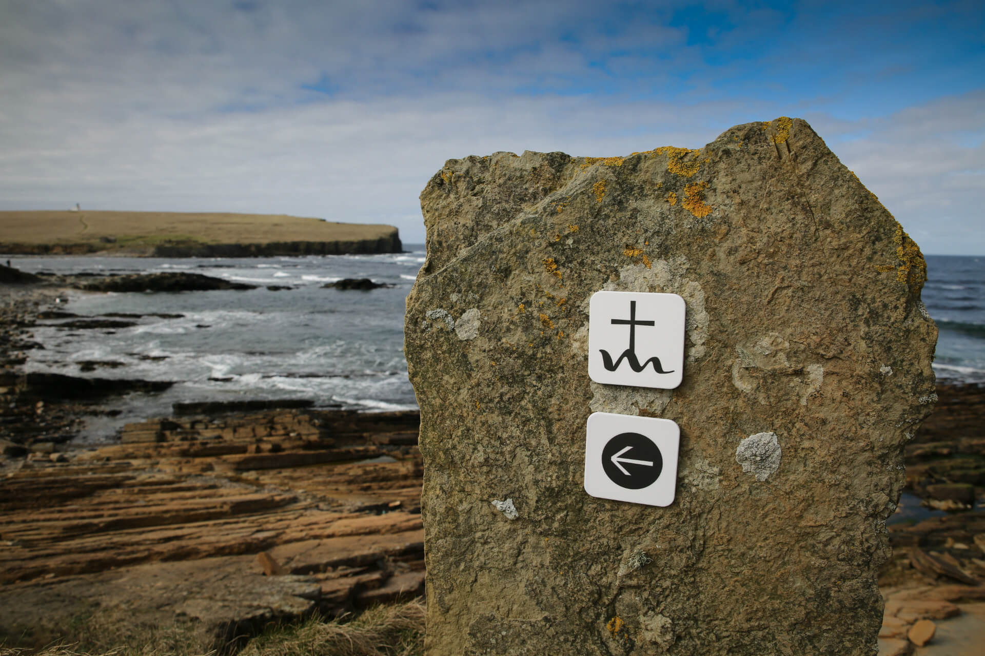 Sign post to mark the path on Orkney