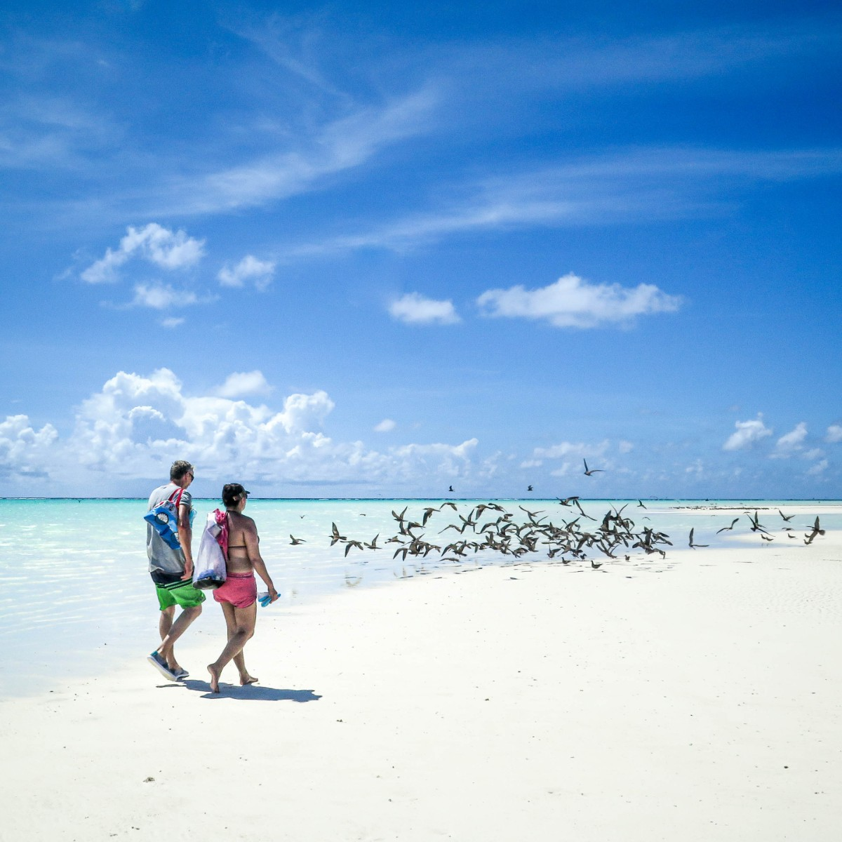 Two people walking down a white sand beach with blue skies in Tahiti - photo by Larissa Rolley, photography course creator at Wanderful