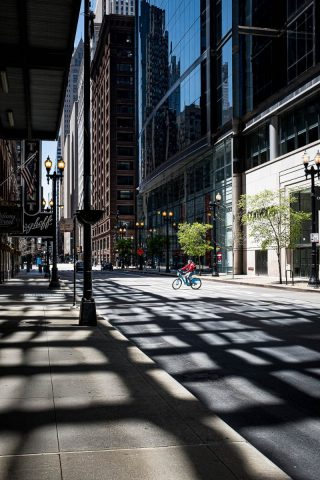 Long shadows on a city street in Chicago - photo by Larissa Rolley, photography course creator at Wanderful