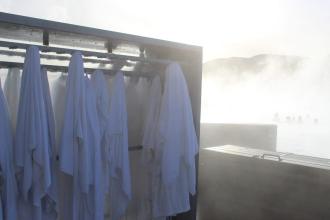 Bathrobes hanging at the Blue Lagoon in Iceland