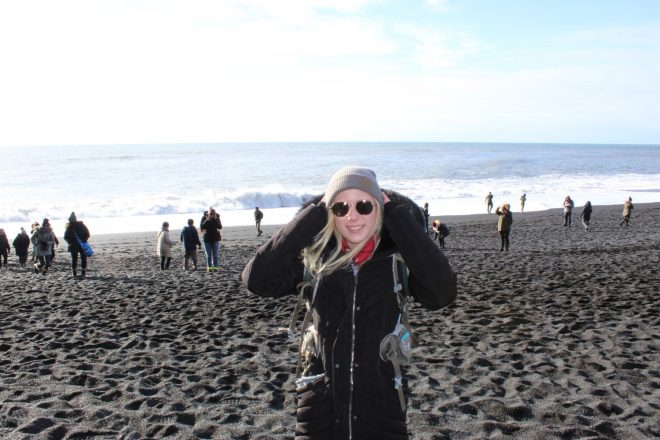 Laura Harris at Reynisfjara Black Sand Beach, South Coast Day Tour in Iceland