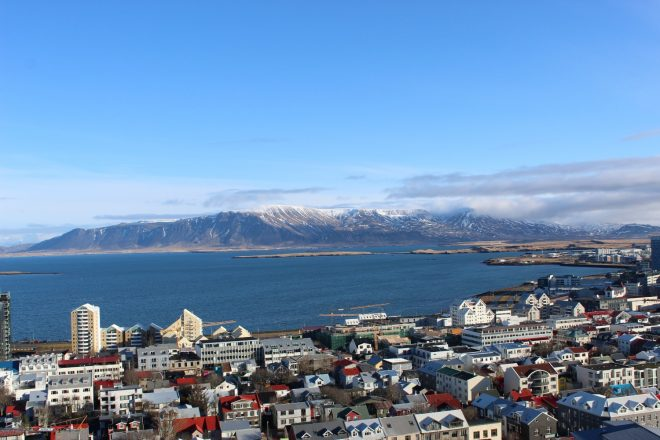 View over Reykjavik to the sea