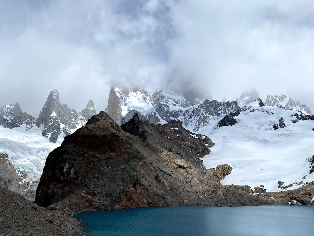 Low clouds over the Patagonia mountains from Cerro Fitz Roy in El Chaltén, Argentina