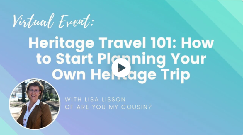 "Image of a video recording for a Wanderful event titled ""Heritage Travel 101: How to Start Planning Your Own Heritage Trip"" with Lisa Lisson"
