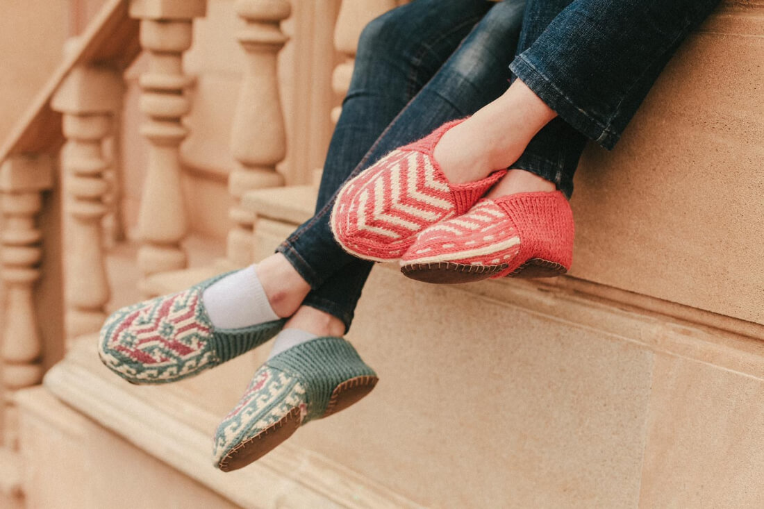 Traditional Hand-Knit Slipper Socks from Azerbaijani Women