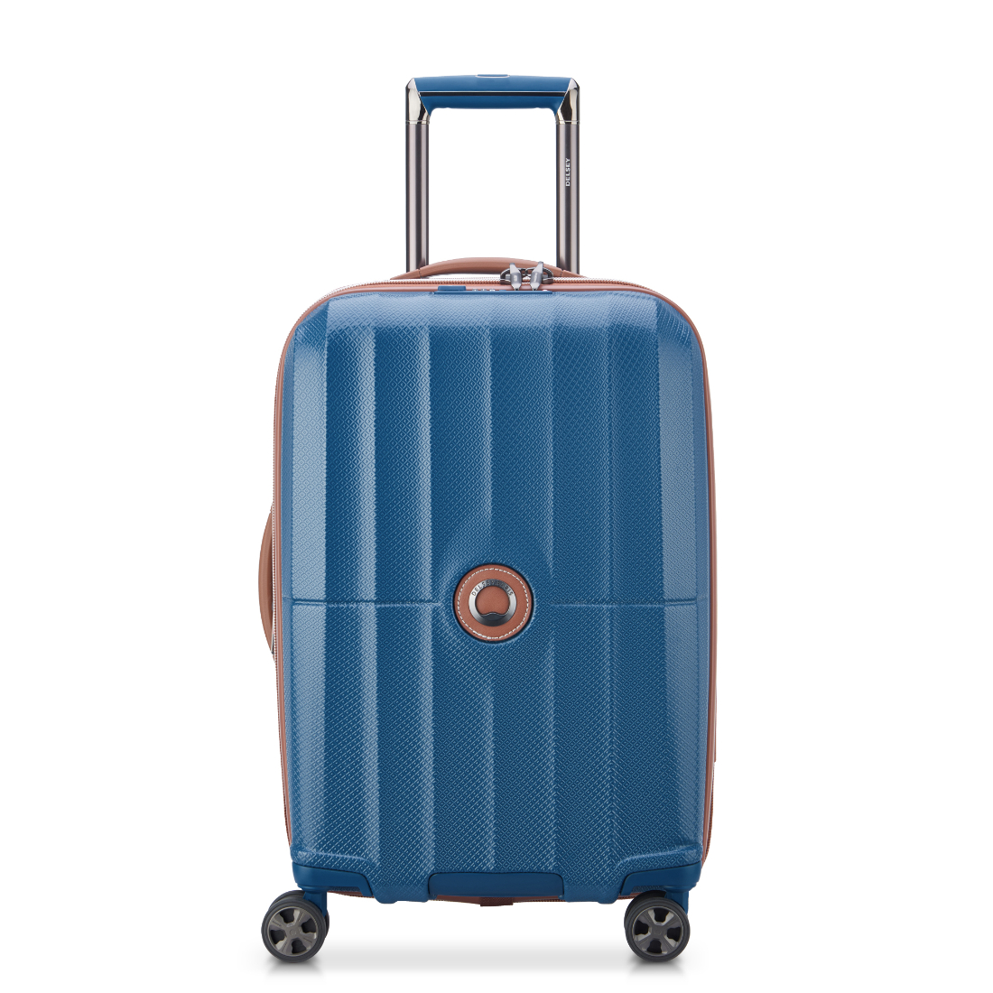 DELSEY luggage ST TROPEZ collection in blue with brown vegan leather trim