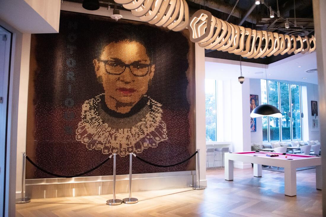 Portrait of Ruth Bader Ginsburg, former US Supreme Court Justice, at Hotel Zena