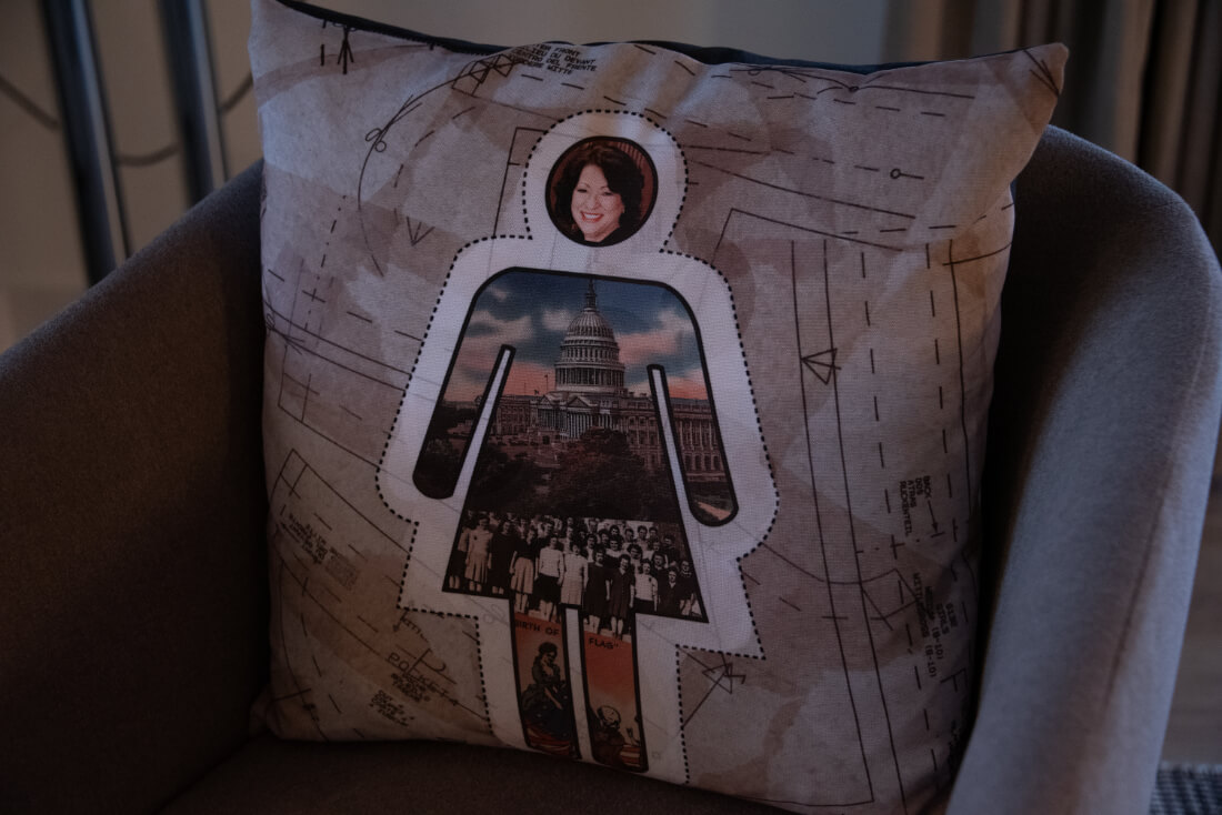 Pillow at Hotel Zena in Washington DC with a photo of US Supreme Court Justice Sonia Sotomayor