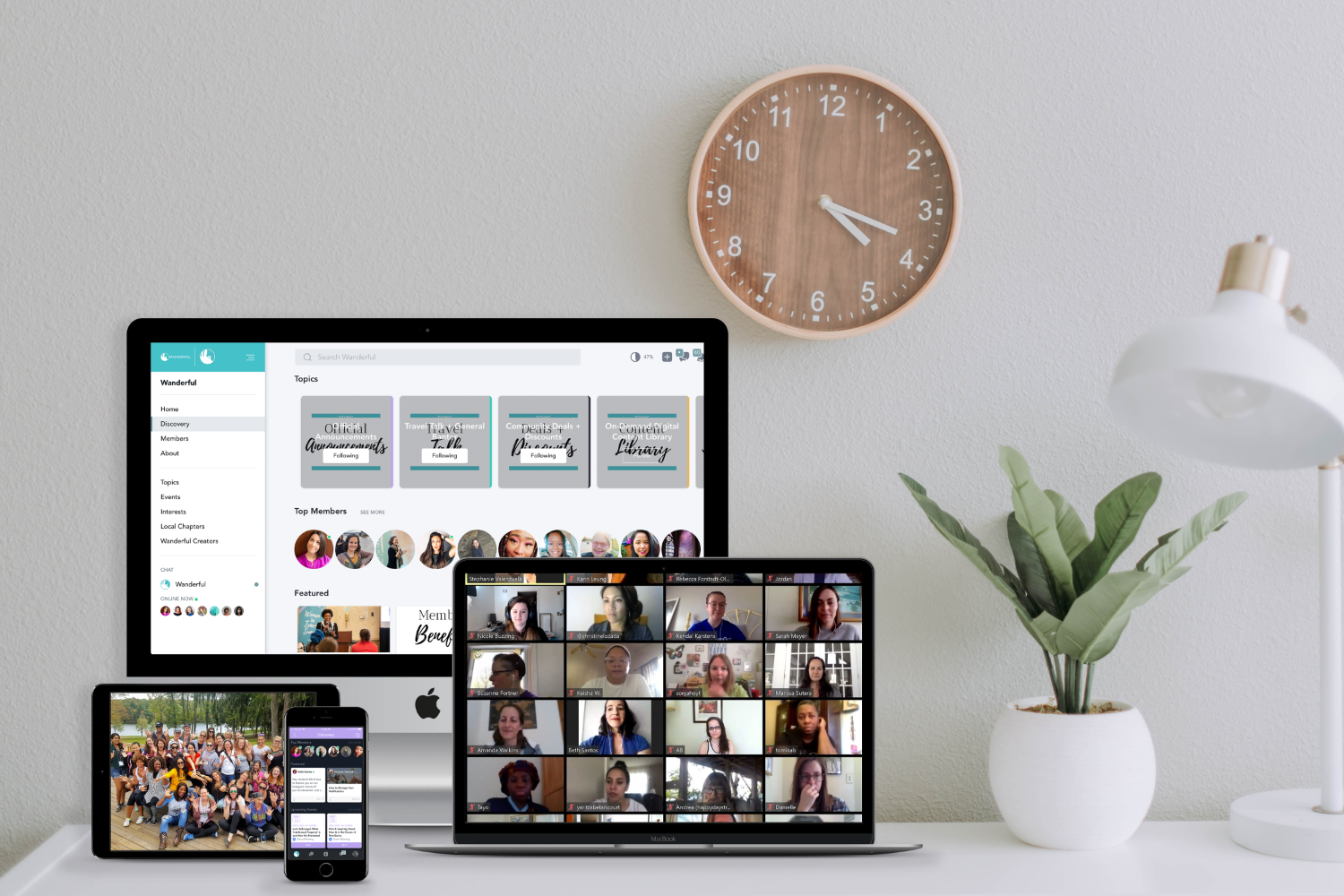 The Wanderful global community connects via virtual events, a members-only app, in-person events, and more. Views of Wanderful across all devices (TV, computer, phone, and tablet)