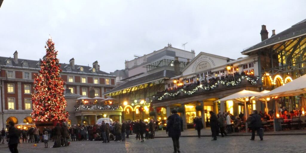Christmas lights at Covent Garden in London