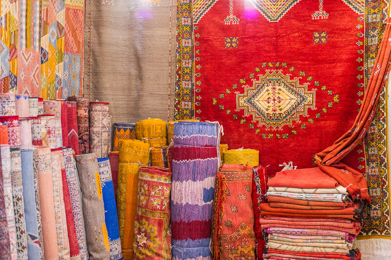 Vibrant colorful Moroccan rugs