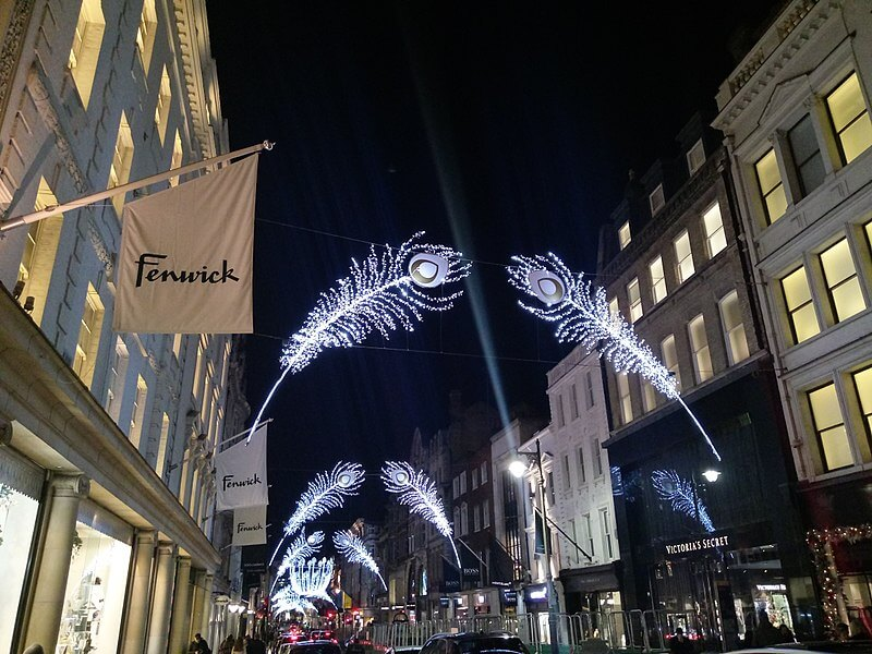 Christmas lights at Fenwick in London