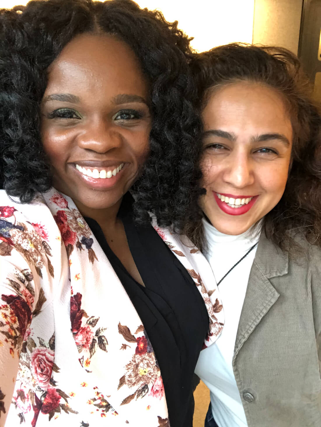 Local Purse founders Lola Akinmade Åkerström and Sara Mansouri taking a selfie