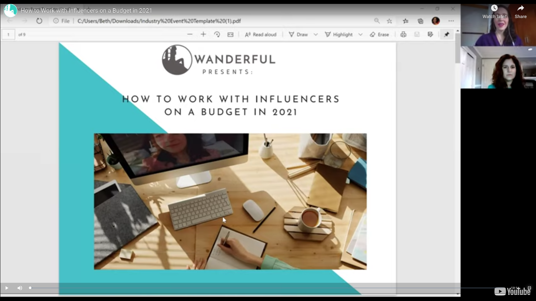 "Still-frame of the video recording from the event ""How to work with influencers on a budget in 2021"" featuring travel influencer expert Netanya Trimboli and Wanderful Founder & CEO Beth Santos"