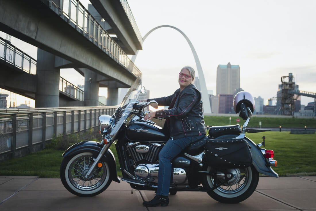 Teresa Willis of Sparkle Adventures on her motorcycle ready for the perfect road trip