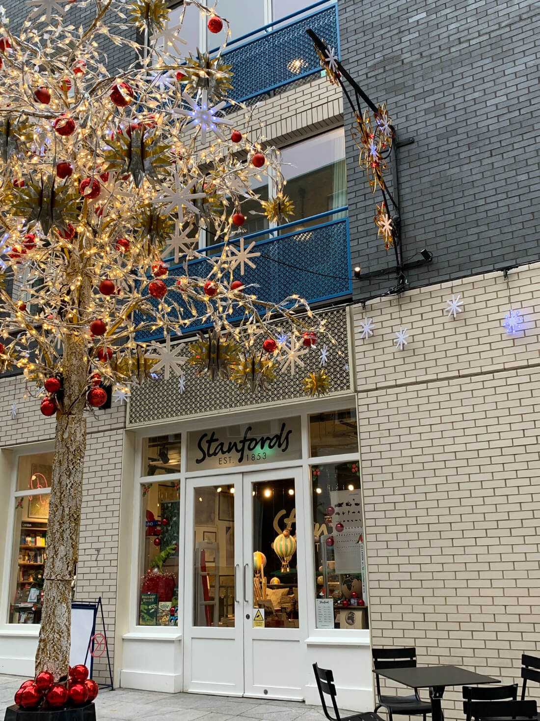 Christmas decor at Stanfords bookshop in London