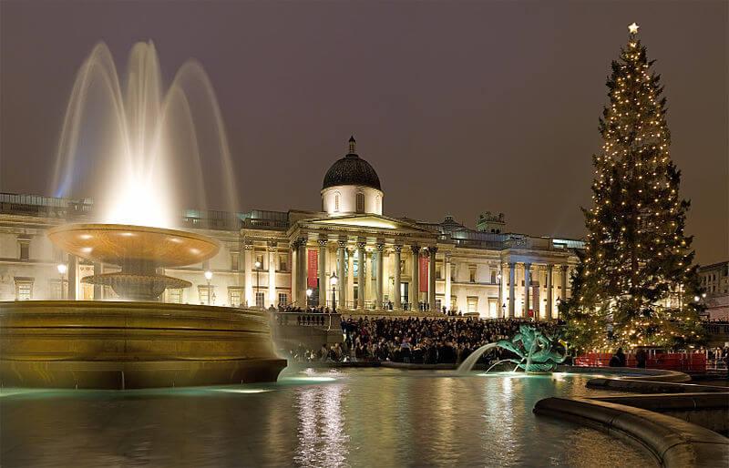 Christmas lights at Trafalgar Square