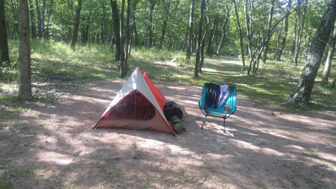 Small tent at Taum Sauk Mountain State Park