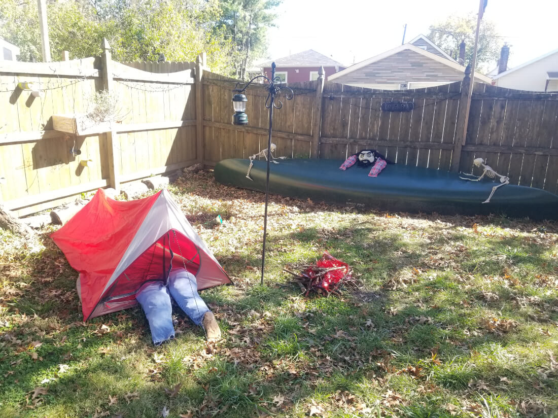 Small 1-person tent being used for Halloween decorations