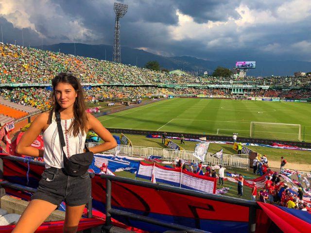 Helene Doetsch in a football stadium