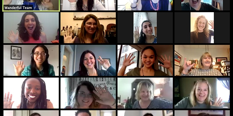 Virtual event screenshot with women of Wanderful
