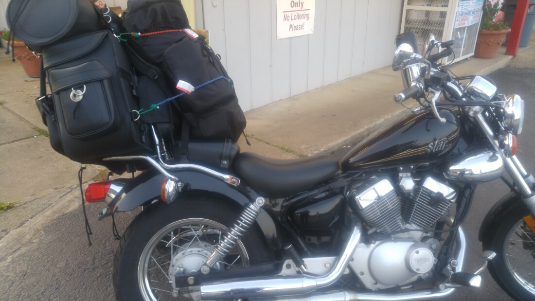 Yamaha Star motorcycle all packed up for a camping road trip